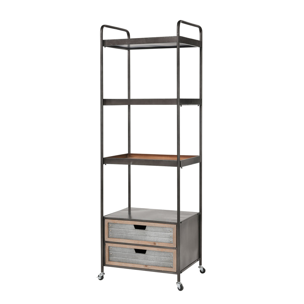 Whitepark Bay Bookshelf in Natural Fir Wood and Galvanized Steel