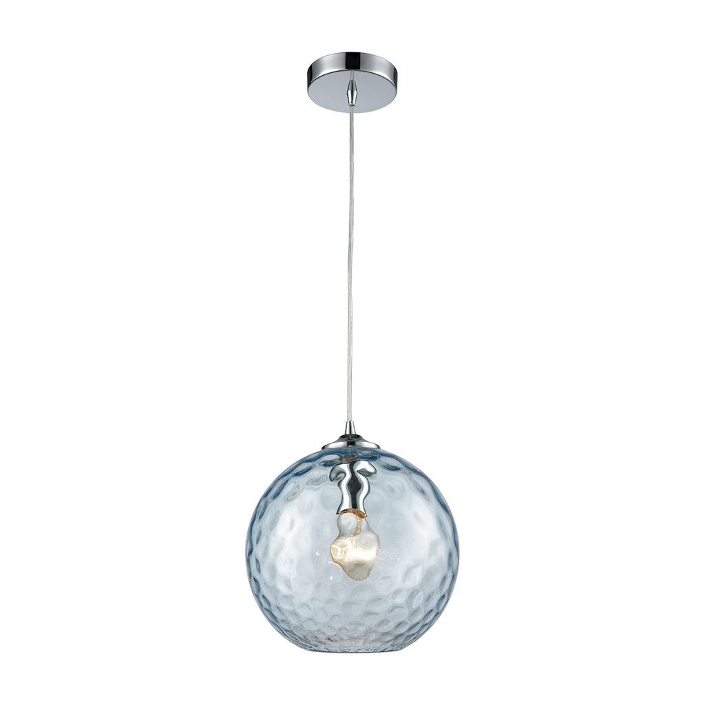 Watersphere 1 Light Pendant in Polished Chrome with Aqua Hammered Glass