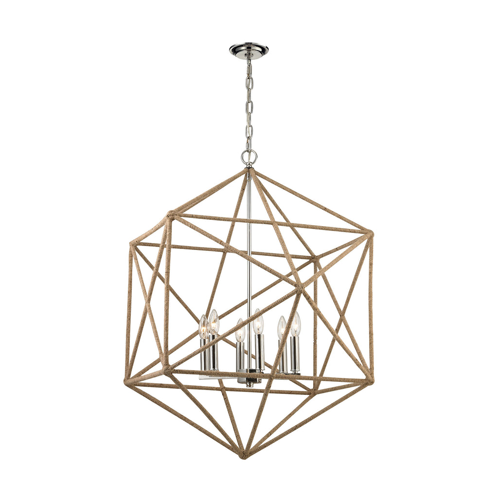 Exitor 6 Light Chandelier in Polished Nickel