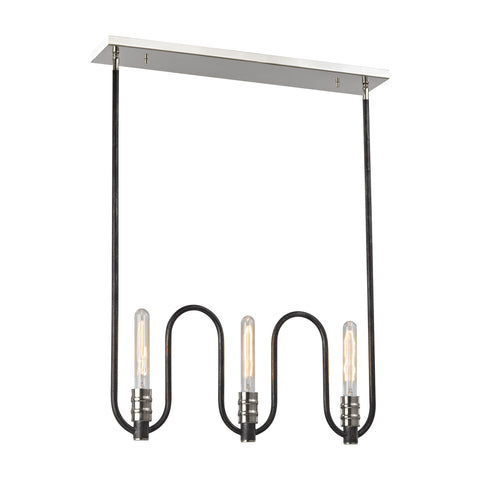 Continuum 6 Light Chandelier In Silvered Graphite With Polished Nickel Accents