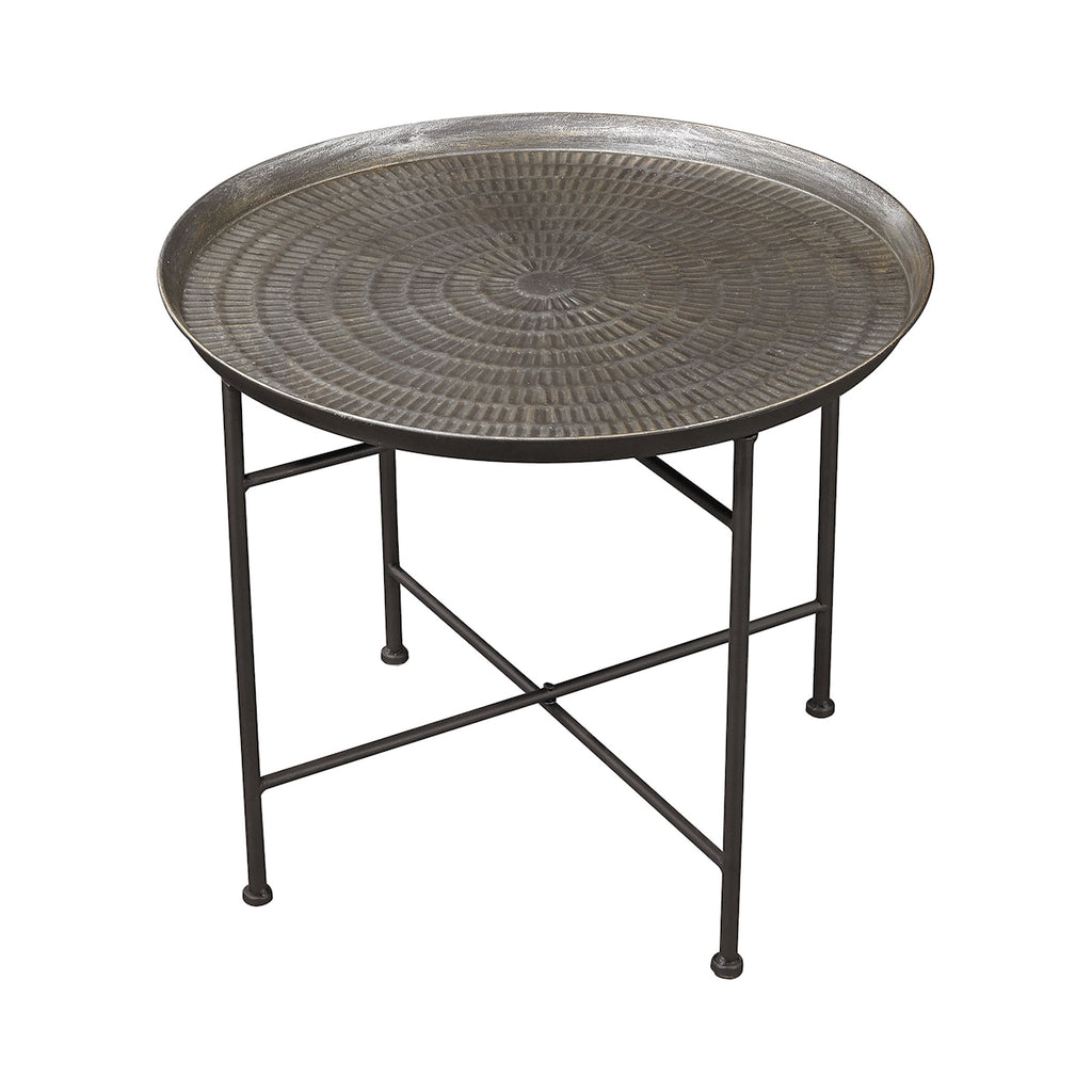 Ignition Accent Table in Embossed Pewter