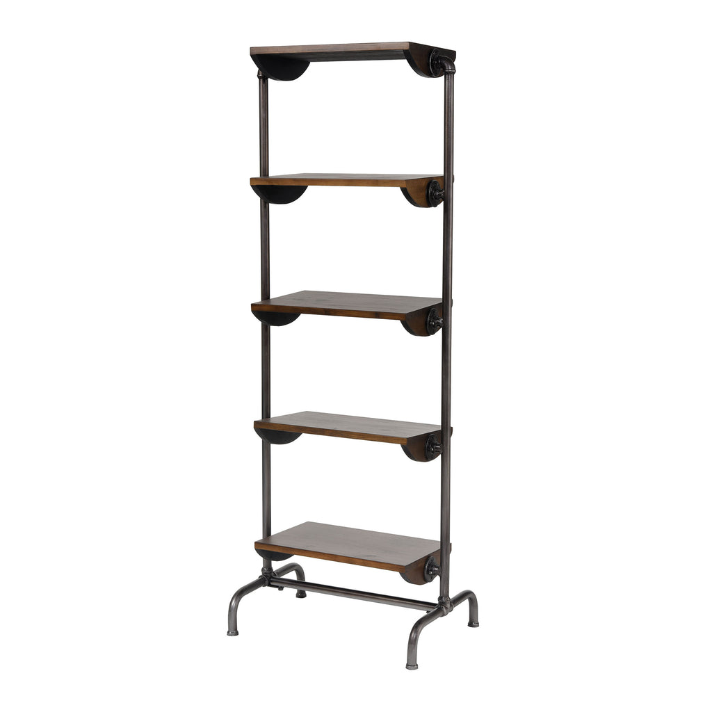 Industry City Bookcase in Black and Natural Wood Tone