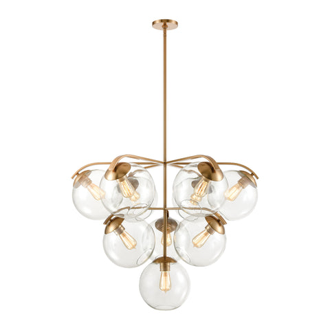 Collective 10-Light Chandelier in Satin Brass with Clear Glass