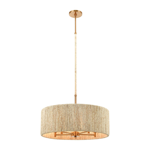Abaca 5-Light Pendant in Satin Brass with Abaca Rope