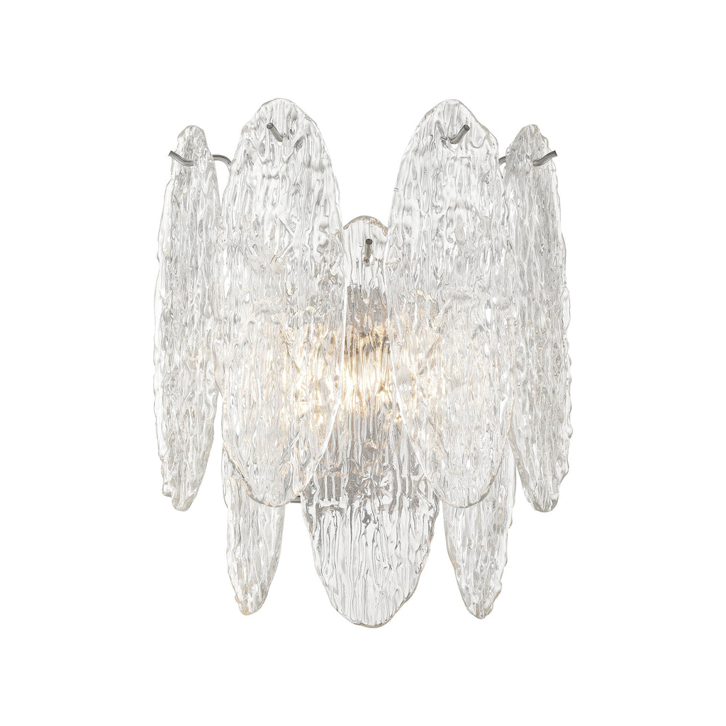 Frozen Cascade 2-Light Sconce in Polished Chrome with Clear Textured Glass