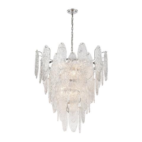 Frozen Cascade 13-Light Chandelier in Polished Chrome with Clear Textured Glass
