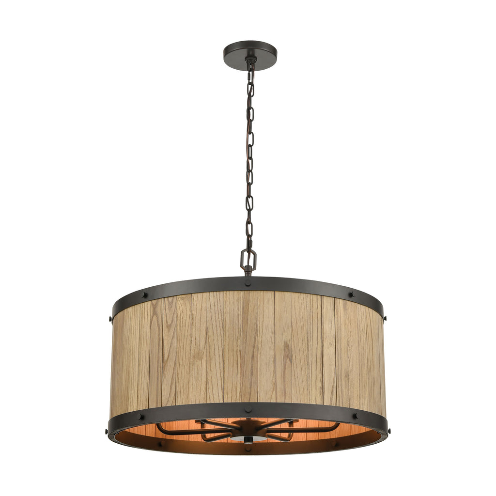 Wooden Barrel 6-Light Chandelier in Oil Rubbed Bronze with Slatted Wood Shade in Natural