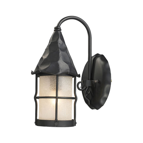 Rustica 1-Light Wall Sconce in Matte Bk W/Scavo Gl