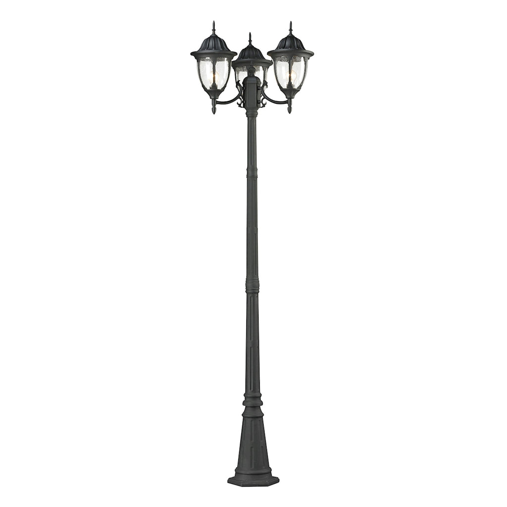 Central Square Collection 3 light outdoor post light in Textured Matte Black