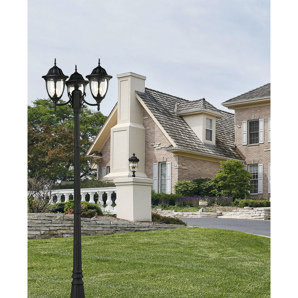 Central Square 3-Light Outdoor Post Mount in Textured Matte Black