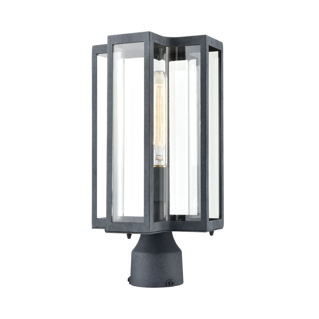 Bianca 1-Light Post Mount in Aged Zinc with Clear