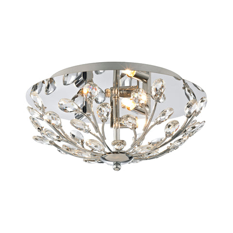Crystique 3-Light Flush Mount in Polished Chrome