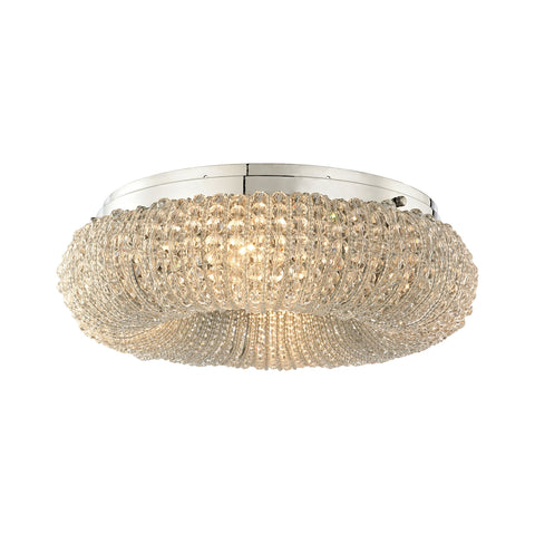 Crystal Ring 4 Light Semi Flush in Polished Chrome