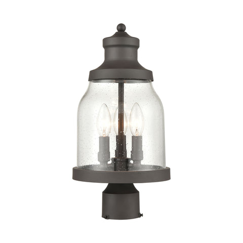 Renford 3-Light Outdoor Post Mount in Architectural Bronze with Seedy Glass
