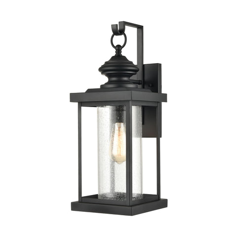 Minersville 1-Light Outdoor Sconce in Matte Black with Antique Speckled Glass