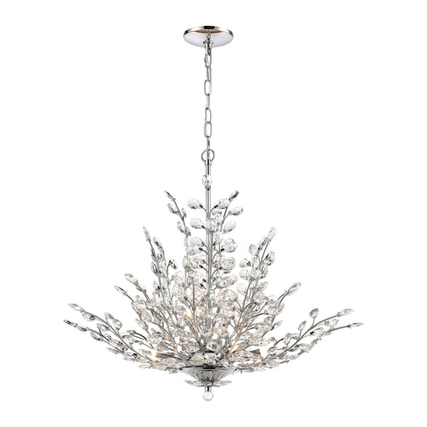 Crystique 9-Light Chandelier in Polished Chrome with Clear Crystal