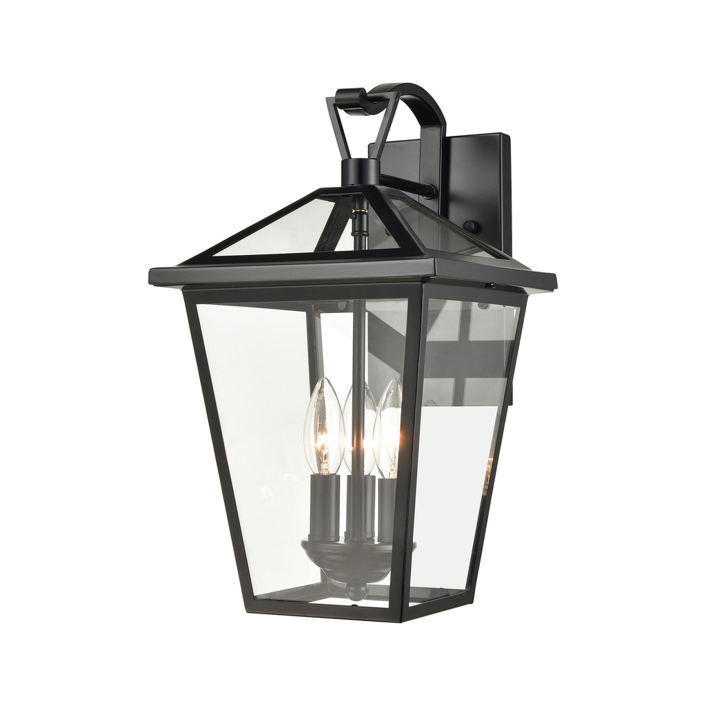 Main Street 3-Light Outdoor Sconce in Black with Clear Glass Enclosure