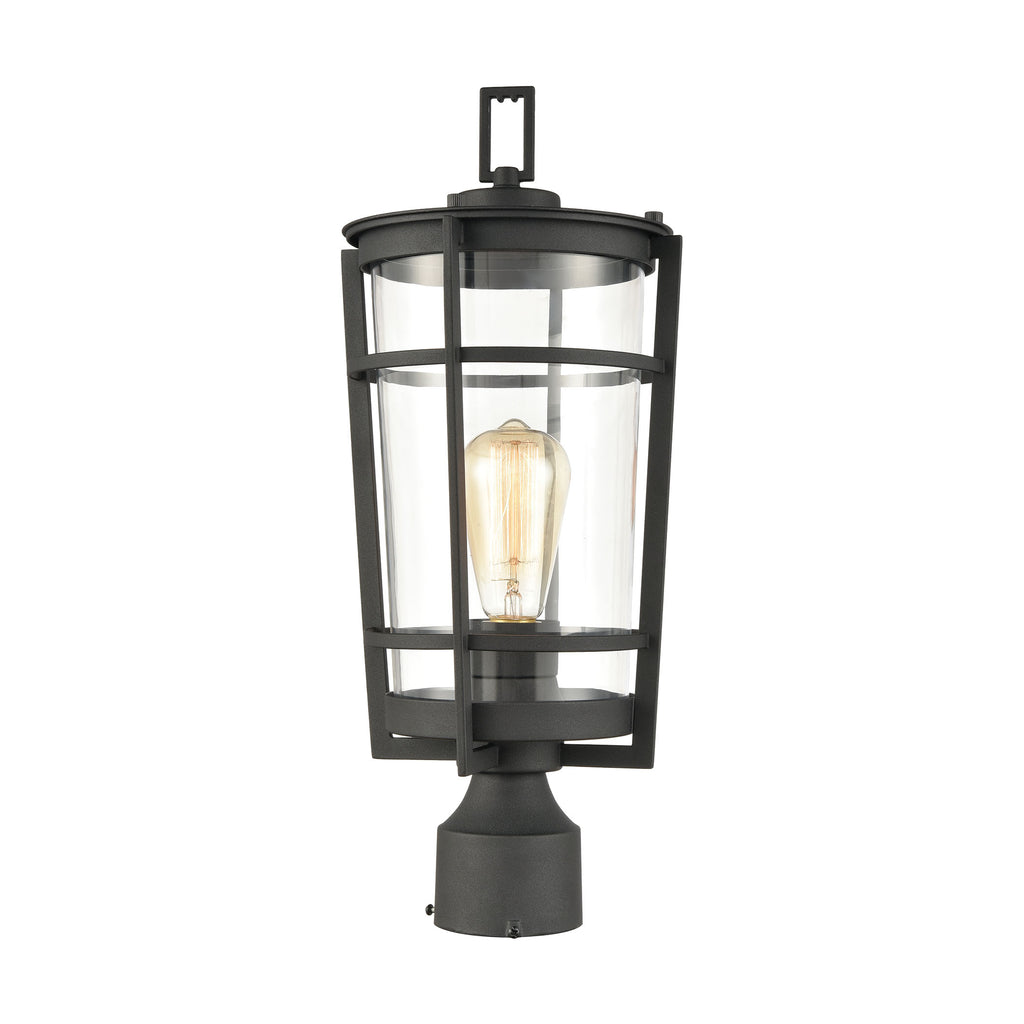 Crofton 1-Light Outdoor Post Mount in Charcoal with Clear Glass