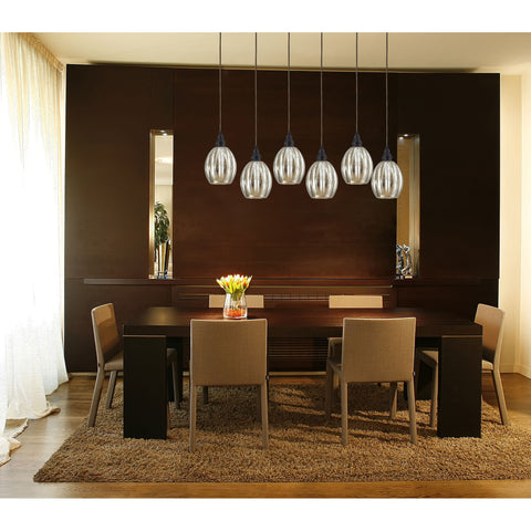 Danica 6-Light H-Bar Pendant Fixture in Oiled Bronze with Mercury Glass