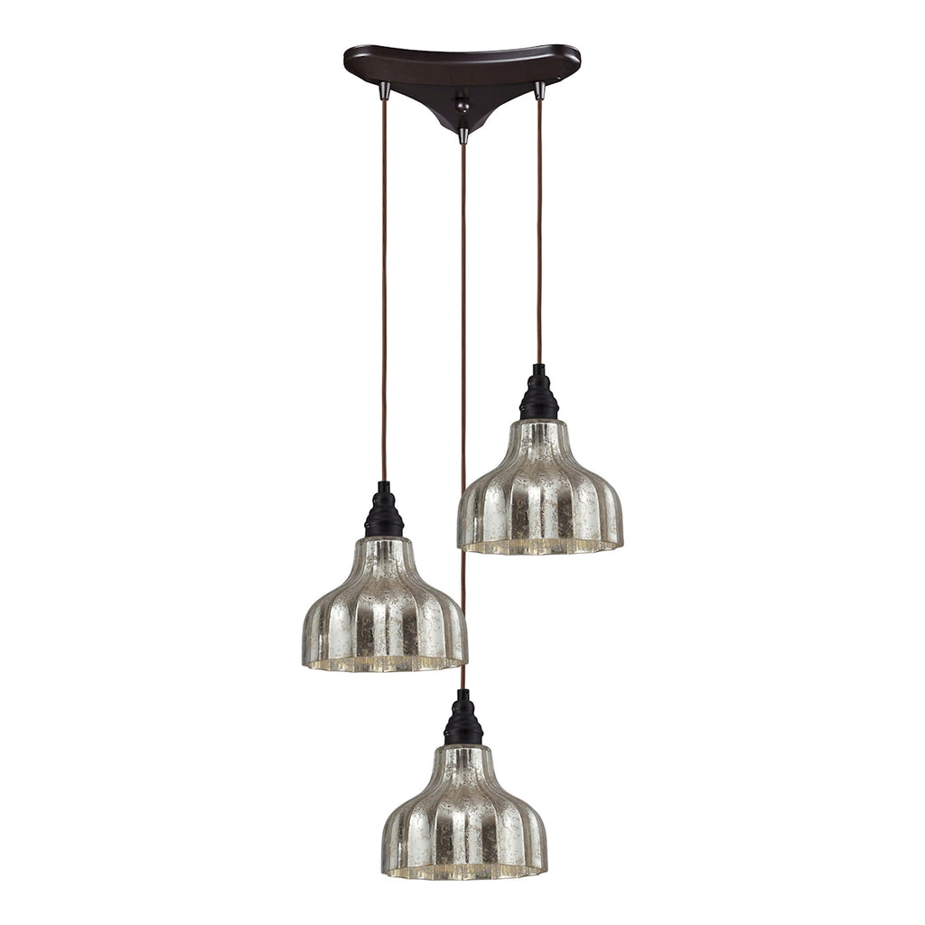 Danica 3 Light Pendant in Oiled Bronze and Mercury Glass