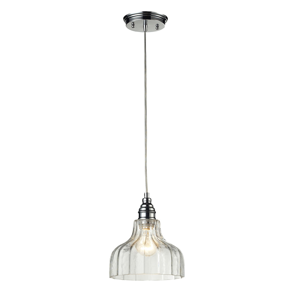 Danica 1 Light Pendant in Polished Chrome and Clear Glass