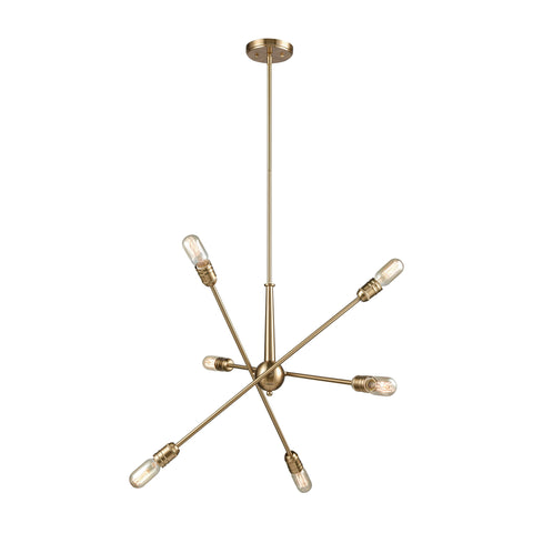 Delphine 6 Chandelier Satin Brass