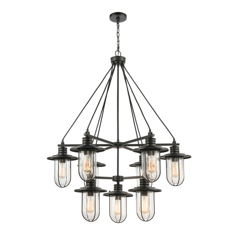 Lakeshore Drive 9-Light Chandelier in Matte Black with Seedy Glass