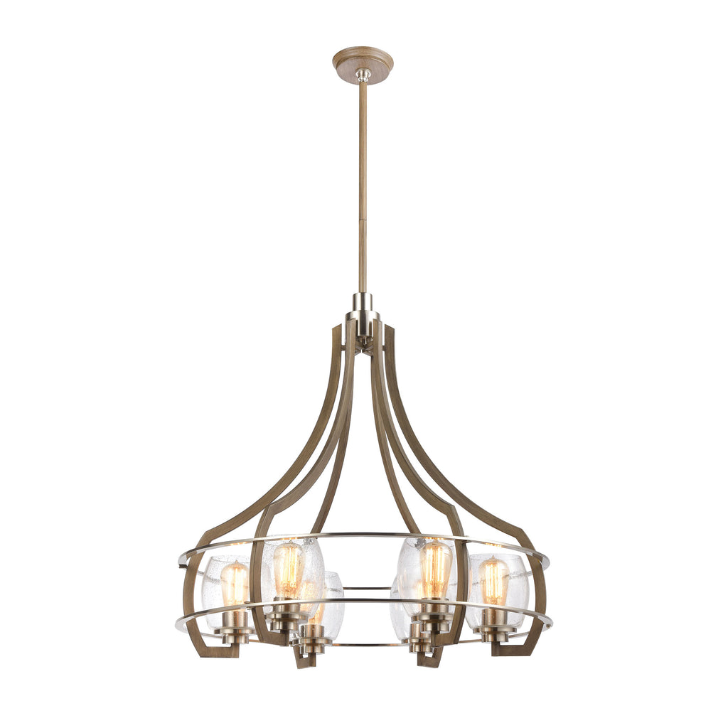 Bixler 6-Light Chandelier in Light Wood with Seedy Glass