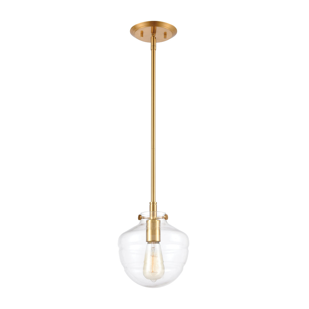 Manhattan Boutique 1-Light Mini Pendant in Brushed Brass with Clear