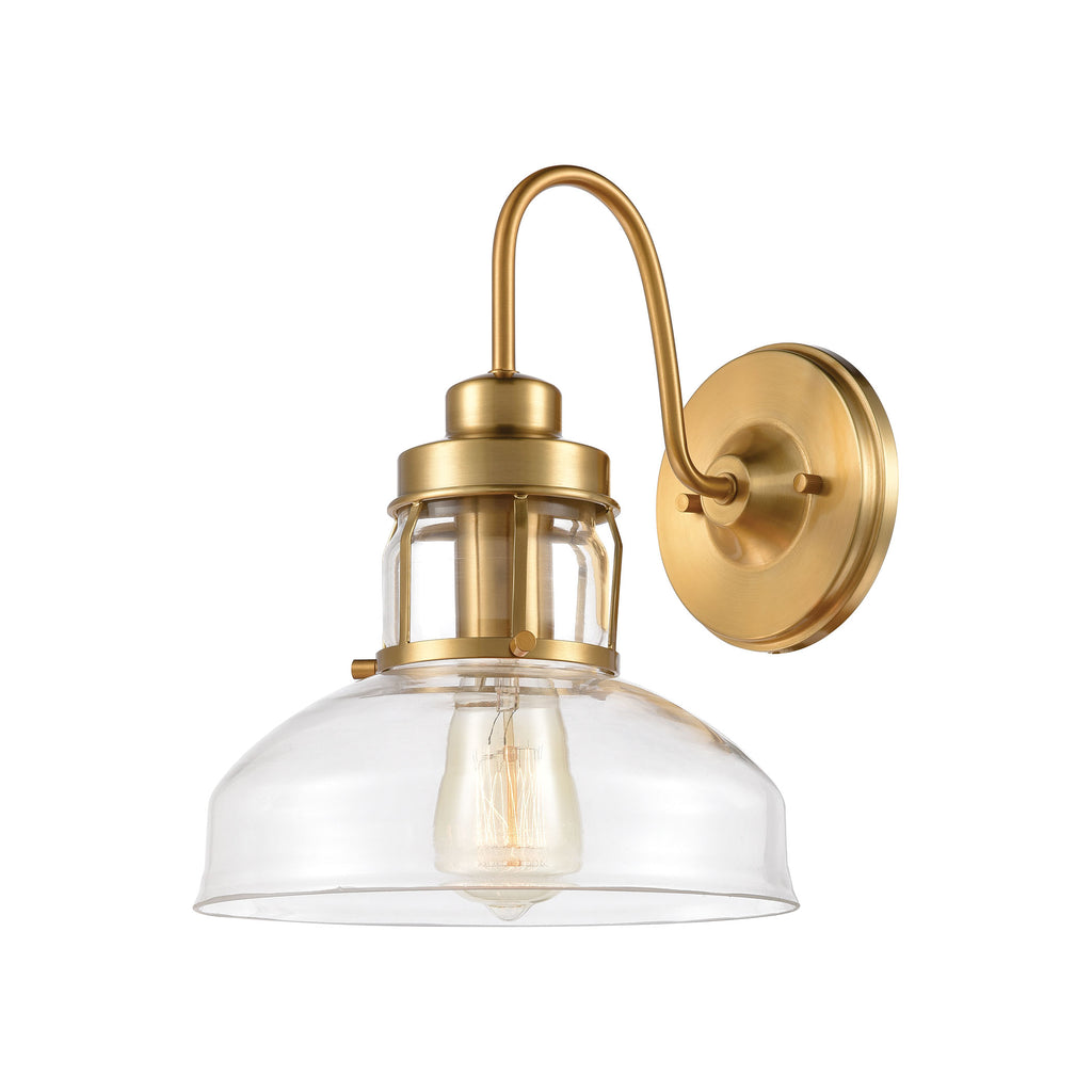 Manhattan Boutique 1-Light Sconce in Brushed Brass with Clear Glass