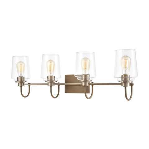 Bakersfield 4-Light Vanity Light in Light Wood with Clear Glass