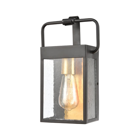 Knowlton 1-Light Sconce in Matte Black with Seedy Glass