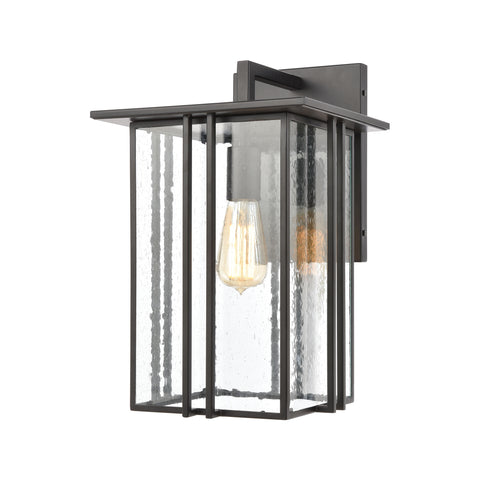 Radnor 1-Light Sconce in Matte Black with Seedy Glass
