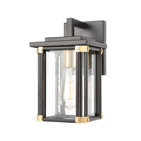Vincentown 1-Light Sconce in Matte Black with Seedy Glass