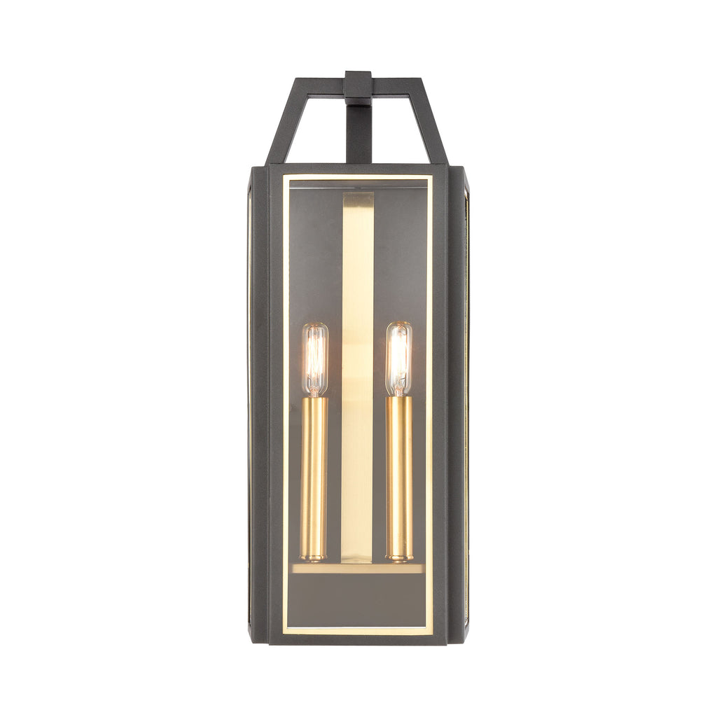 Portico 2-Light Sconce in Charcoal with Clear Glass