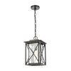 Carriage Light 1-Light Hanging in Matte Black with Seedy Glass
