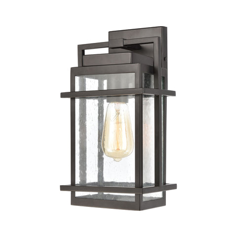 Breckenridge 1-Light Sconce in Matte Black with Seedy Glass