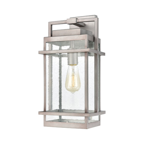 Breckenridge 1-Light Sconce in Weathered Zinc with Seedy Glass