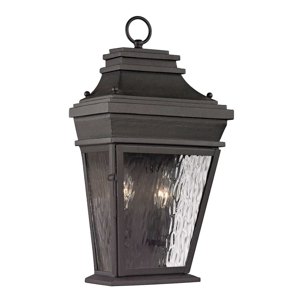 Forged Provincial Collection 2 light outdoor sconce in Charcoal