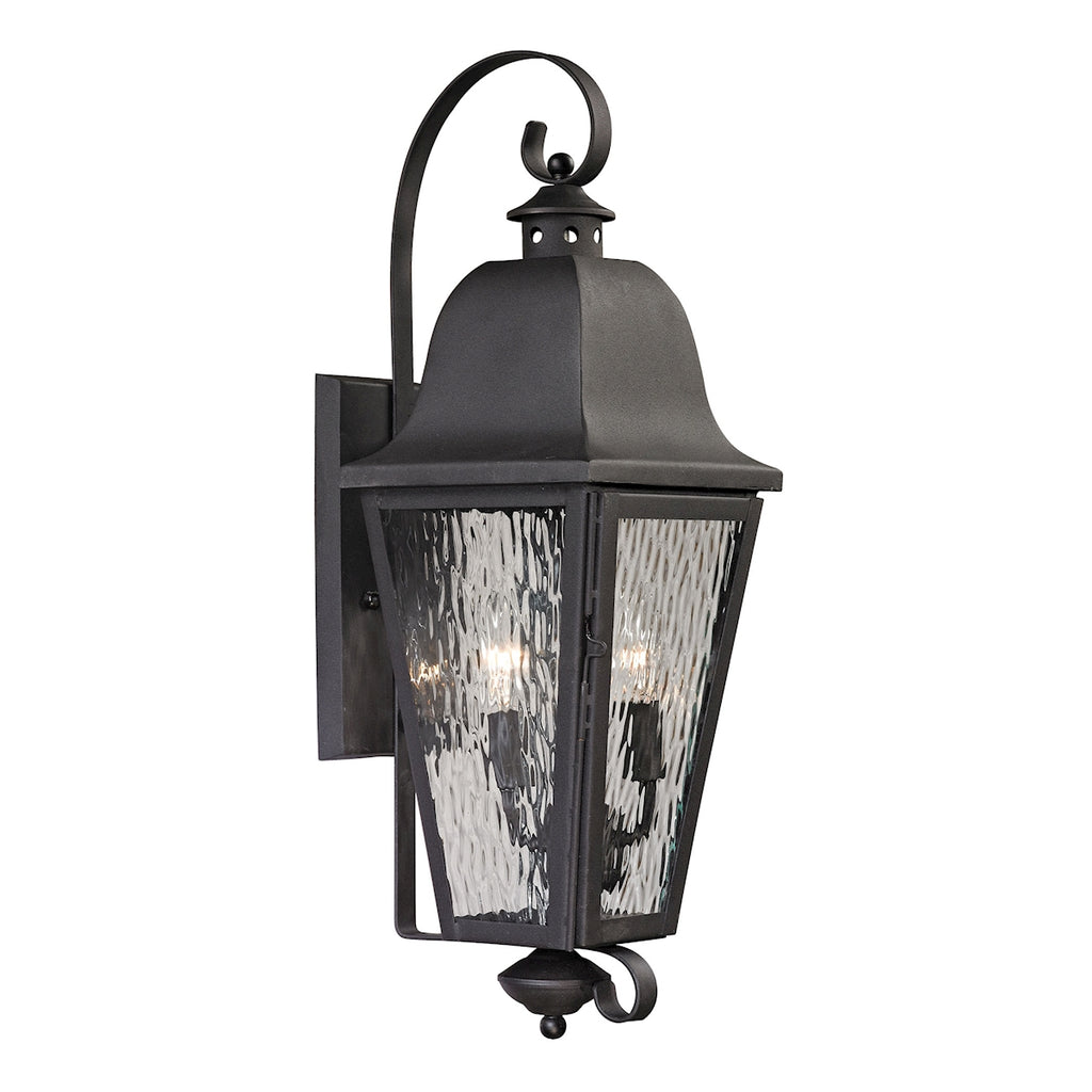 Forged Brookridge Collection 2 light outdoor sconce in Charcoal