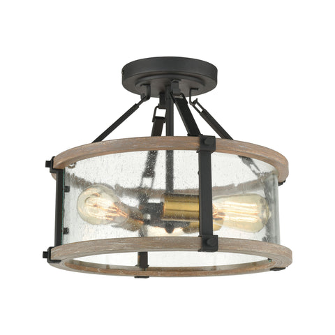 Geringer 3-Light Semi Flush in Charcoal and Beechwood with Seedy Glass Enclosure