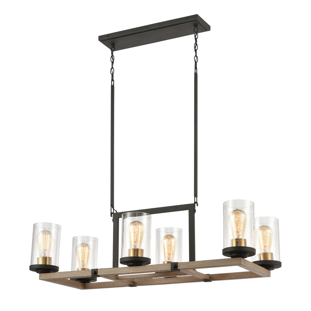 Geringer 6-Light Island Light in Charcoal and Beechwood with Seedy Glass