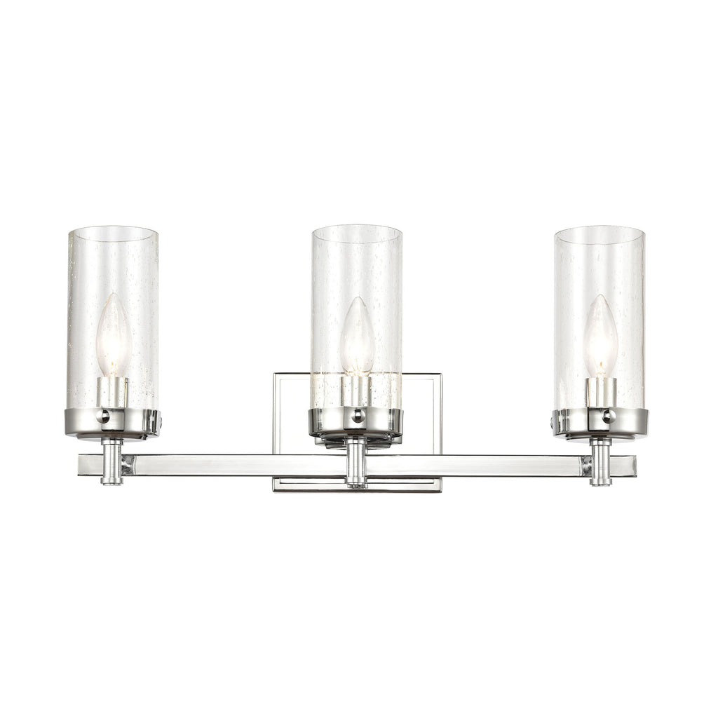 Melinda 3-Light Vanity Light in Polished Chrome with Seedy Glass
