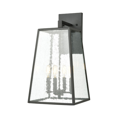 Meditterano 4-Light Sconce in Charcoal with Seedy Glass