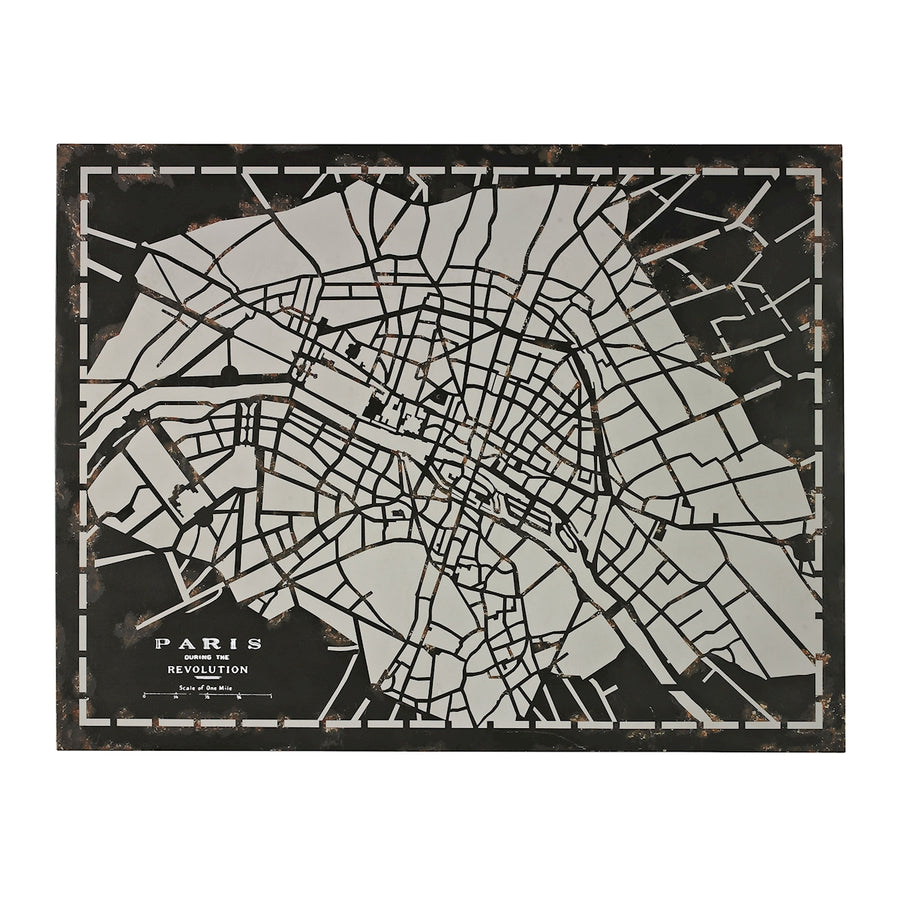 LASER CUT MAP OF PARIS CIRCA 1790