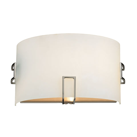 Wall Sconces 1 Light Sconce In Brushed Nickel And White Glass
