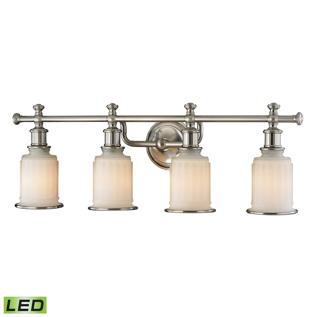 Acadia Collection 4 light bath in Brushed Nickel - LED, 800 Lumens (3200 Lumens Total) with Full Sca