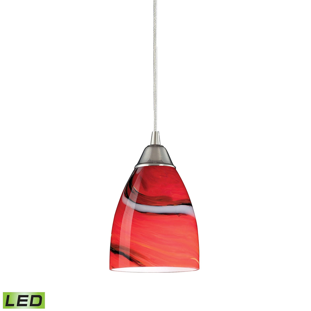 1 Light Pendant in Satin Nickel and Candy Glass - LED Offering Up To 800 Lumens (60 Watt Equivalent)