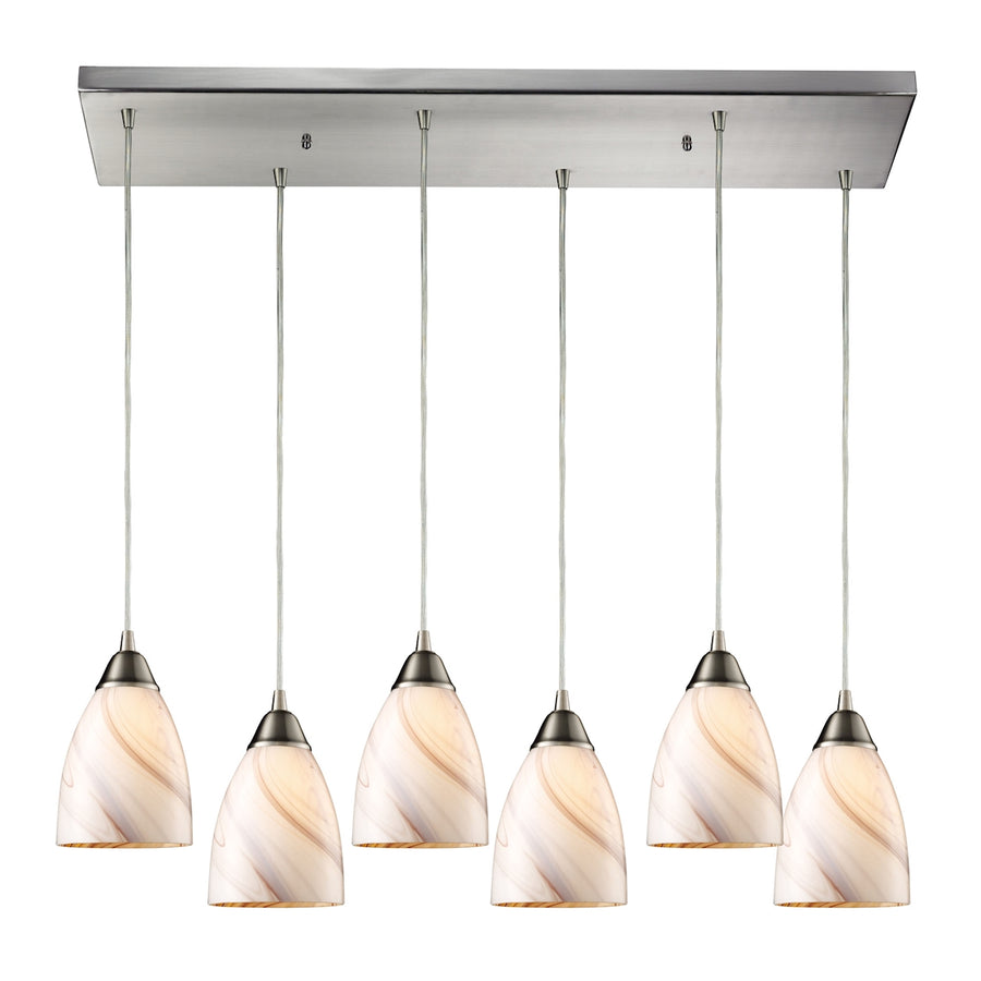 Pierra 6- Light Pendant in Satin Nickel