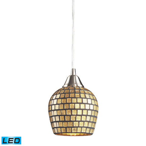 1 Light Pendant in Satin Nickel and Gold Mosaic Glass - LED Offering Up To 800 Lumens (60 Watt Equiv